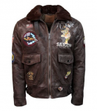 "Оригінальний бомбер Top Gun ""Victory"" vintage bomber (brown) Миколаїв"