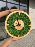 Настенные часы со стабилизированым мхом 30 см MiNature Moss Рівне